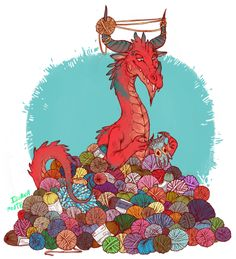 Apparently I am a dragon. And this is my hoard. Uncommon dragon hoards by Lauren Dawson This is such a good pic for me. collect both dragons and yarn. Magical Creatures, Fantasy Creatures, Fantasy Kunst, Fantasy Art, Cute Dragons, Sword And Sorcery, Drawing Skills, Dragon Art, Red Dragon