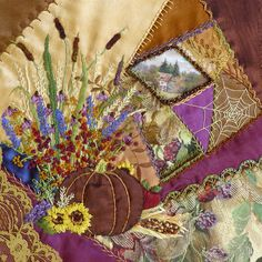 This is an absolutely stunning Crazy Quilt Block • made by Connie Eyberg Originals