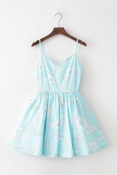 Floral Azure Strap Cute Retro Sundress