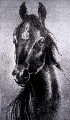 music horse , pencil, 30x60