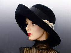 04c1c9fe373 Bailey Tomlin Wide Brim Hat Black Felted Wool with Velvet Feather Textile  Trim London Vintage 1980 s