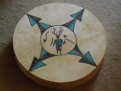 Tigua Indian Painted Drum  -Kachina -