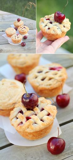 Mini cherry pies. Sadly, no recipe to this photo, but a smart baker can always devise a recipe!