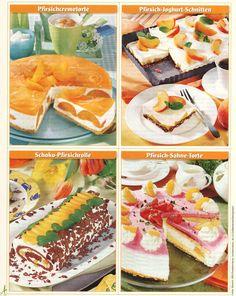 Verschiedene Kuchen mit Pfirsich