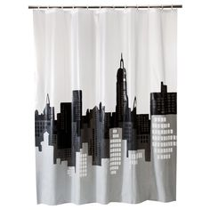 City Scape Shower Curtain - Room Essentials, Gray/White