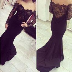 Long Sleeve Prom Dress,Lace Prom Dress,Fashion Prom Dress,Sexy Party Dress,Custom Made Evening Dress