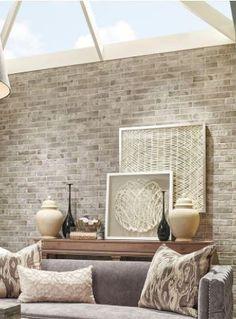 New faux wood wallpaper accent wall interior design ideas Brick Wallpaper Living Room, White Brick Wallpaper, Accent Walls In Living Room, Accent Wall Bedroom, Wood Wallpaper, Textured Wallpaper, Textured Walls, Wallpaper Ideas, Living Rooms