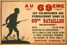 Canada WWI, French language: In the - Volunteers who enroll in the Battalion will receive . Ww1 Propaganda Posters, History Meaning, Advertising History, French Language, World War I, Print Ads, Wwi, Vintage Advertisements, Armed Forces
