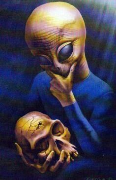 Art by Boros Attila - Alien Thinker Alien Gris, Grey Alien, Aliens And Ufos, Ancient Aliens, Funny Illustration, Illustrations, Psychedelic Art, Paranormal, Alien Abduction