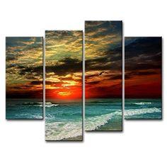 Santin Art - Free Shipping Oil Paintings on Canvas Dark Blue Ocean White Sun High Q. Wall Decor Landscape Paintings Canvas Wall Art 5pcs/set Mixorde