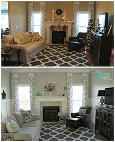 Amazing living room makeover - with board and batten, stenciled curtains and the perfect gray paint!