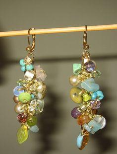 Cascading Earrings  Pastel  Glass Beaded  Dangle  by SerebaDesigns,