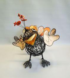 """""""Bonjour"""" medium, oranges Wire Crafts, Wire Art, Rooster, Birds, Sculpture, Medium, Animals, Inspiration, Ideas"""