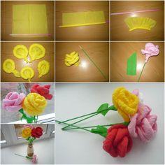 DIY Easy Napkin Paper Flowers | GoodHomeDIY.com Follow Us on Facebook ==> www.facebook.com/iCreativeIdeas