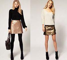 venta de bajo precio fábrica brillo encantador 42 mejores imágenes de Falda dorada | Falda dorada, Faldas ...