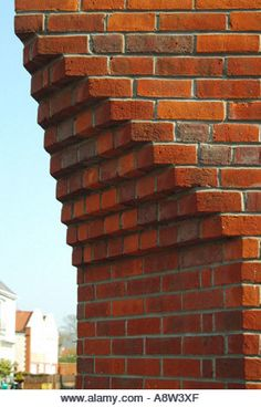 Buy or license direct from the photographer this stunning image of : Aldeburgh Brick Wall Corner Detail Where Corbeling Has Converted A Splayed Build . Brick Masonry, Brick Facade, Brick In The Wall, Brick And Stone, Brick Architecture, Architecture Details, Brick Works, Glazed Brick, Brick Art
