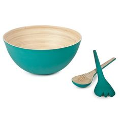 Core Bamboo Round Bowl and Servers Set in Aqua