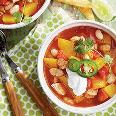 Chicken-and-White Bean Chili with Pumpkin   MyRecipes.com