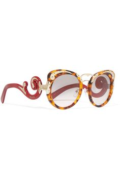 Tortoiseshell and red acetate, gold-tone metal Come in a designer-stamped case 100% UV protection Made in Italy