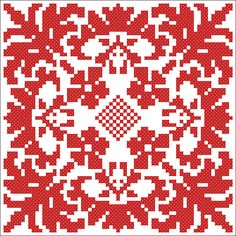 Red square | Chart for cross stitch or filet crochet.