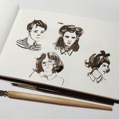 44 отметок «Нравится», 1 комментариев — Toma ♡✐ (@qrkovatoma) в Instagram: «герлз #sketchbook #inksketch»