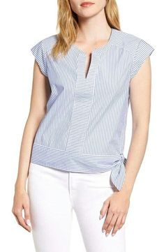 Women's Vineyard Vines Skiff Stripe Side Tie Top, Size 8 - Blue Cap sleeves and a cute hip tie make this striped stretch-cotton top utterly charming. Style Name:Vineyard Vines Skiff Stripe Side Tie Top. Blouse Styles, Blouse Designs, Clothing Patterns, Dress Patterns, Sewing Blouses, Denim Cutoff Shorts, Wide Leg Denim, Cute Tops, Shirt Blouses