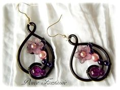 Parure 3 pièces Collier Bracelet Boucles d'oreille en fil aluminium noir violet parme par douce-fantaisie sur ALittleMarket