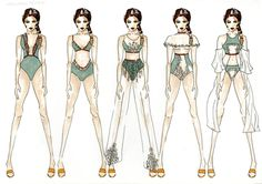 Fashion Sketchbook - embroidered swimwear design lineup; fashion illustrations; fashion portfolio // Philippa MacConnachie