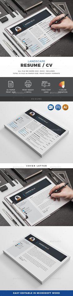Modern Resume Set Modern resume - landscape resume