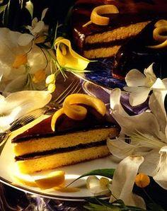 Chocolate, Orange and Honey Cake - Bon Appétit Honey Chocolate, Chocolate Glaze, Orange Sponge Cake, Passover Desserts, Cake Recipes, Dessert Recipes, Honey Cake, Recipe Of The Day, No Bake Cake