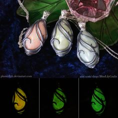 Elegant Glow in the Dark Polymer Clay Pendants by plasterfish.deviantart.com on @DeviantArt