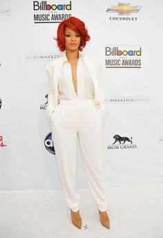 Billboard Awards 2011 Rihanna Classy White Pants Suit for the girls