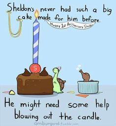 Sheldon's never had such a big cake made for him before, he might need some help blowing out the cable, Happy Anniversary Sheldon, William, text; Sheldon the Tiny Dinosaur Kawaii, Turtle Dinosaur, Sheldon The Tiny Dinosaur, Funny Cute, Hilarious, Super Funny, Funny Animals, Cute Animals, 4 Panel Life