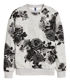 Graphic floral print sweatshirt in a soft grey melange cotton. | H&M For Men