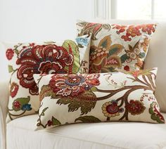 Riley Floral Embroidered Pillow Covers, Pottery Barn: Using a medley of techniques, including hand embroidery, appliqué and screen printing.