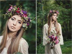 pink and purple floral halo via wedding chicks