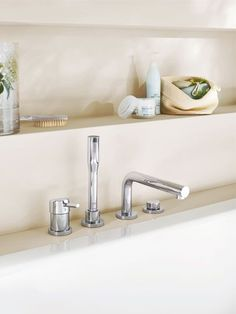 GROHE Concetto Bath Spout. #bathroom #bath #spout See more at http://www.grohe.com/us/5922/bathroom/bathroom-faucets/concetto/