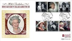 Limited Edition of only HM Queen Elizabeth II, Birthday Stanley Gibbons official first day cover bearing the new Royal Mail stamp set issued to commemorate Her Majesty Queen Elizabeth II's landmark birthday.