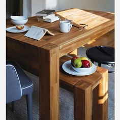 Modern Living: Harvest farmhouse-style dining table and bench. All set for morning coffee. Big Kitchen, Kitchen Dining, Dining Rooms, Dining Area, Dining Table With Bench, Wood Table, Dining Room Design, Home Decor Inspiration, Furniture Design
