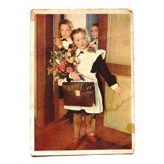 Alte sowjetische Photo Postkarte - erster Schultag - Schule - Schüler-Uniform - 1960 - ab Russland / Sowjetunion / UdSSR