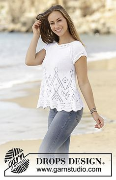 Summer swing / DROPS - free knitting patterns by DROPS design Top knitted from the bottom up with lace pattern and raglan sleeves in DROPS nutmeg. Sizes S - XXXL. Free patterns by DR. Lace Knitting Patterns, Lace Patterns, Knitting Designs, Drops Design, Summer Knitting, Free Knitting, Crochet Summer, Top Pattern, Free Pattern