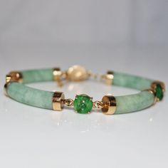 "Vintage 14k YG Jadeite Jade & Carved Jadeite Circles Curved Bracelet, 8"""