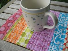 Handmade Quilted Mug Rug in Colorful Brights by cjscraftcorner