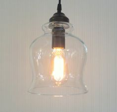 Booth Harbor.  PENDANT Light Medium Bell with Edison by LampGoods// 3 over kitchen island