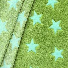 Wellness Fleece bedruckt  Stars  Farbe Grün - Türkis