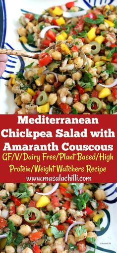 mediterranean recipes An easy and simple healthy salad recipe that uses fresh plant based ingredients, is high protein, excellent for weight watchers, figure friendly, diabetic f Mediterranean Chickpea Salad, Mediterranean Recipes, Easy Salads, Healthy Salads, Eating Healthy, Healthy Food, Whole Food Recipes, Easy Recipes, Healthy Recipes