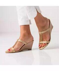 Blancheporte Páskové boty na klínovém podpatku zlatá