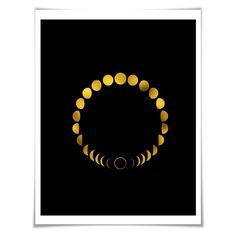 Moon Phases Circle Gold Foil Art Print. 36 Background Colours/3 Sizes. Space Art Print. Lunar Art. Astronomy Art Print.