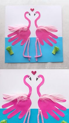 Handprint Art Discover FLAMINGO HANDPRINTS This handprint flamingo craft is the perfect keepsake craft! Two flamingos that form a heart - perfect for a summer Mothers Day or Valentines Day craft! Summer Crafts For Kids, Spring Crafts, Art For Kids, Kids Diy, Summer Crafts For Preschoolers, Arts And Crafts For Kids Toddlers, Beach Crafts For Kids, Beach Themed Crafts, Under The Sea Crafts