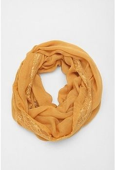 "UrbanOutfitters.com | Pins and Needles Lace Eternity Scarf in ""Gold"" - StyleSays"